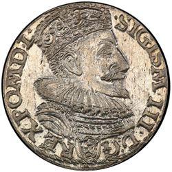 POLAND: Sigismund III Vasa, 1587-1632, AR trojak (3 grosze), Malbork (Marienburg), 1594. PCGS MS63
