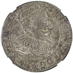 POLAND: Sigismund III Vasa, 1587-1632, AR 6 groschen, 1596. NGC AU58