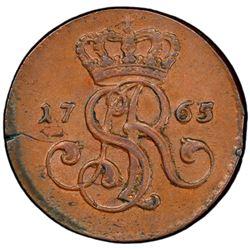 POLAND: Stanislaw II Augustus, 1764-1795, AE grosz, 1765. PCGS MS62