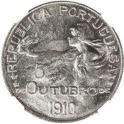 PORTUGAL: Republic, AR escudo, 1910. NGC MS63
