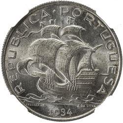 PORTUGAL: Republic, AR 5 escudos, 1934. NGC MS65
