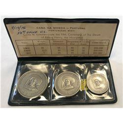 PORTUGAL: Republic, 3-coin matte proof set, 1960