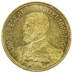 ROMANIA: Carol I, 1866-1914, AV 12 1/2 lei, 1906. AU