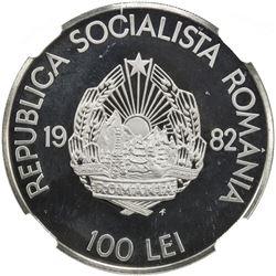 ROMANIA: Socialist Republic, AR 100 lei, 1982-FM. NGC PF69