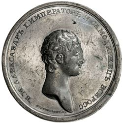 RUSSIAN EMPIRE: Alexander I, 1801-1825, white metal medal (31.51g), 178x. EF
