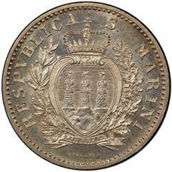 SAN MARINO: Republic, AR lira, 1898-R. PCGS MS64