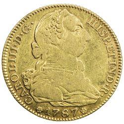 SPAIN: Carlos III, 1759-1588, AV 4 escudos (13.25g), Madrid, 1787-M. F