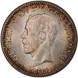 SWEDEN: Gustav V, 1907-1950, AR krona, 1914. PCGS MS65