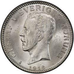 SWEDEN: Gustav V, 1907-1950, AR krona, 1918. PCGS MS65