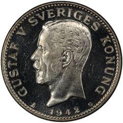 SWEDEN: Gustav V, 1907-1950, AR krona, 1942. PCGS MS65