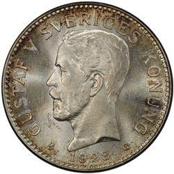 SWEDEN: Gustav V, 1907-1950, AR 2 kronor, 1928. PCGS MS65
