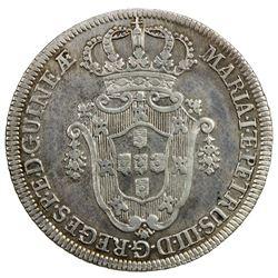 ANGOLA: Maria I and Pedro III, 1777-1786, AR 10 macutas, 1783. EF