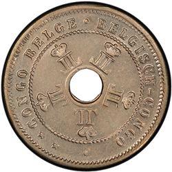 BELGIAN CONGO: Leopold II, 1885-1909, 5 centimes, 1909. PCGS AU58