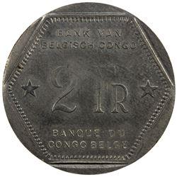BELGIAN CONGO: Leopold III, 1934-1950, 2 francs, 1944. UNC