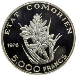 COMOROS: Comorian State, AR 5000 francs, 1976. NGC MS66