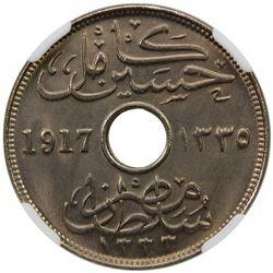 EGYPT: Hussein Kamil, 1914-1917, 10 milliemes, 1917-H/AH1335. NGC MS66