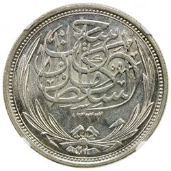 EGYPT: Hussein Kamil, 1914-1917, AR 10 piastres, 1917/AH1335. NGC MS64