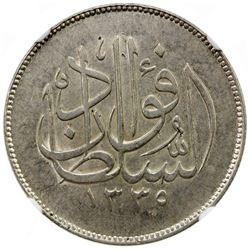 EGYPT: Fuad, as Sultan, 1917-1922, AR 10 piastres, 1920-H/AH1338. NGC AU58
