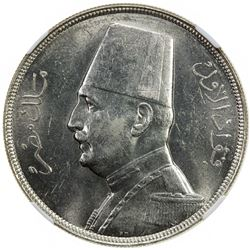EGYPT: Fuad I, as King, 1922-1936, AR 20 piastres, 1933/AH1352. NGC MS61