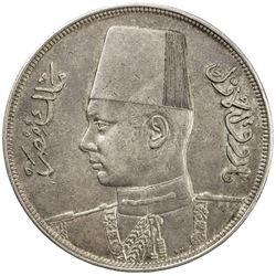 EGYPT: Farouk, 1936-1952, AR 20 piastres, 1937/AH1356. EF-AU