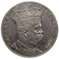 ERITREA: Umberto I, 1889-1900, AR 5 lire, 1891. NGC AU55