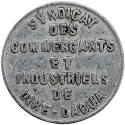 ETHIOPIA: aluminum 1 piastre token, 1922. F-VF
