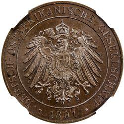 GERMAN EAST AFRICA: Wilhelm II, 1891-1918, AE pesa, 1891. NGC MS65