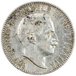 ITALIAN SOMALILAND: Vittorio Emanuele III, 1900-1946, AR 1/2 rupia, 1915-R. EF-AU