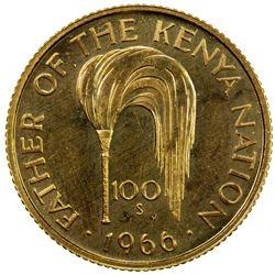 KENYA: Republic, AV 100 shillings, 1966. UNC