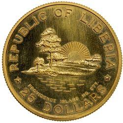 LIBERIA: Republic, AV 25 dollars, 1965-B, KM-21, Fr-3, AGW 0.6746, William V. S. Tubman, UNC