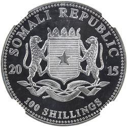 SOMALIA: Republic, AR 100 shillings, 2015. NGC MS69