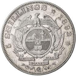 SOUTH AFRICA: Zuid-Afrikaansche Republiek, AR 5 shillings, 1892. VF-EF
