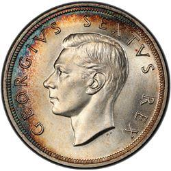 SOUTH AFRICA: George VI, 1936-1952, AR 5 shillings, 1948. PCGS UNC