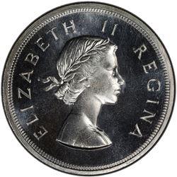 SOUTH AFRICA: Elizabeth II, 1952-1961, AR 5 shillings, 1959. PCGS UNC