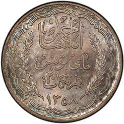 TUNISIA: Ahmad Pasha Bey, 1929-1942, AR 20 francs, AH1358/1939. PCGS MS65