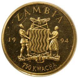 ZAMBIA: Republic, AV 750 kwacha, 1994. PF