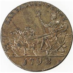 BARBADOS: AE penny token, 1792. AU