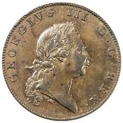 BERMUDA: George III, 1760-1820, AE penny, 1793. EF-AU