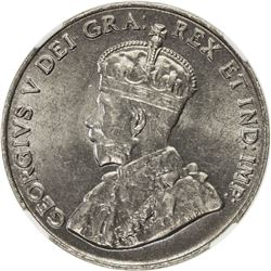 CANADA: George V, 1910-1936, 5 cents, 1924. NGC MS64
