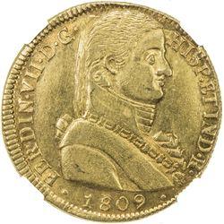 CHILE: Fernando VII, 1808-1818, AV 8 escudos, 1809-So. NGC AU55