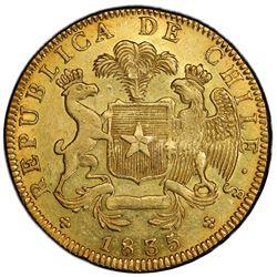 CHILE: Republic, AV 8 escudos, 1835-So. PCGS AU58