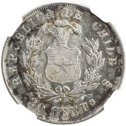CHILE: Republic, AR 20 centavos, 1878-So. NGC MS66