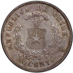 CHILE: Republic, AR 50 centavos, 1872/0-So. PCGS AU58