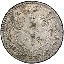 COLOMBIA: Republic, AR real, 1828. PCGS AU55