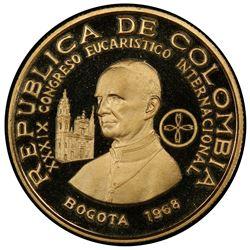 COLOMBIA: Republic, AV 200 pesos, 1968. PCGS PF69