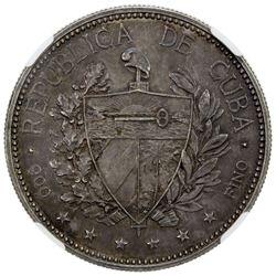 CUBA: AR souvenir peso, 1897. NGC AU55