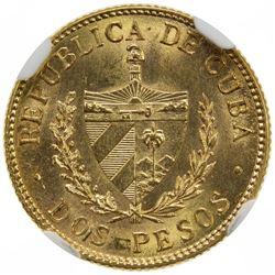 CUBA: Republic, AV 2 pesos, 1916. NGC MS63