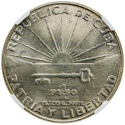 CUBA: Republic, AR peso, 1953. NGC MS63