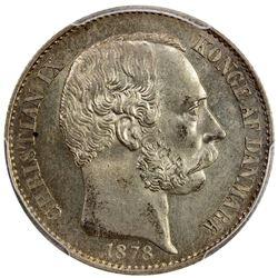 DANISH WEST INDIES: Christian IX, 1863-1906, AR 20 cents, 1878. PCGS AU58