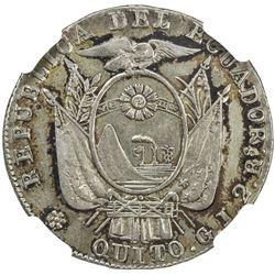 ECUADOR: Republic, AR 2 reales, 1849. NGC EF